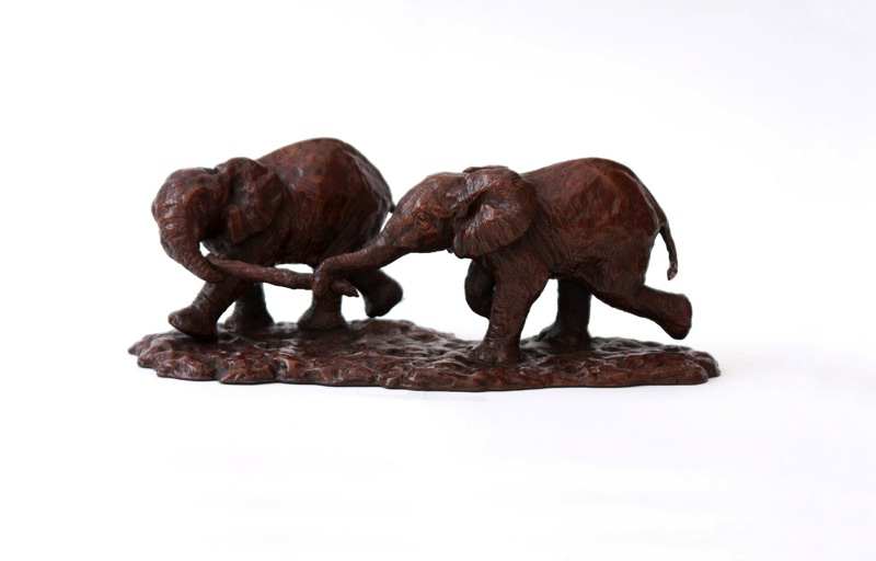 Cold cast bronze limited edition of two African Elephant Calves